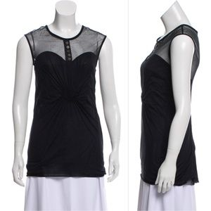 YIGAL AZROUËL Mesh-Accented Sleeveless Top